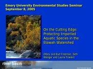 Protecting Imperiled Aquatic Species in the Etowah Watershed