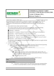 Draft CFIT Contract - Ontario Power Authority - Feed-in Tariff Program