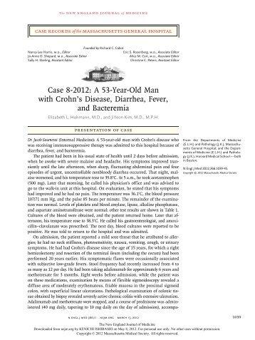 Case 8-2012: A 53-Year-Old Man with Crohn's Disease, Diarrhea ...