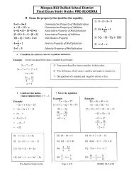 Morgan Hill Unified School District Final Exam Study Guide: PRE ...