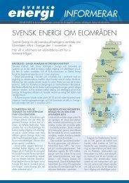 Svensk Energi informerar om elområden