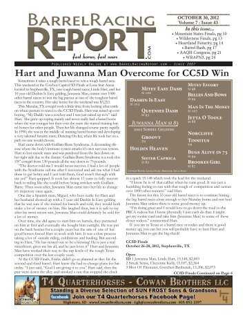 Hart and Juwanna Man Overcome for CC5D Win - Barrel Racing ...