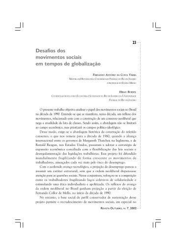 Desafios dos movimentos sociais em tempos de ... - Revista Outubro