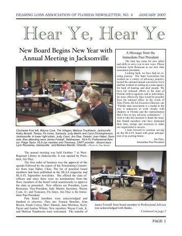 January Newsletter - Hearing Loss Association of Florida