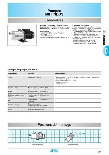 Pompes MIH INDUS Généralités Positions de ... - MIDI Bobinage