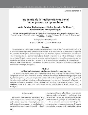 incidencia de la inteligencia emocional en el proceso de aprendizaje