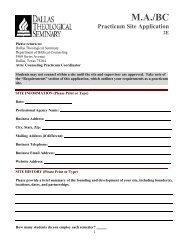 Practicum Site Application 2E - Dallas Theological Seminary