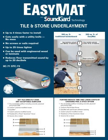 TILE & STONE UNDERLAYMENT - Custom Building Products