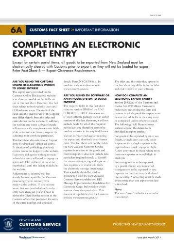 Completing an electronic export entry - New Zealand Customs Service