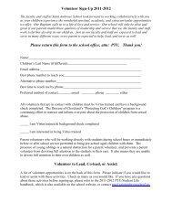 Volunteer Sign-Up 2010-2011 - Saint Ambrose School