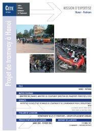Projet de tramway à Hanoi VILLE - CETE de Lyon