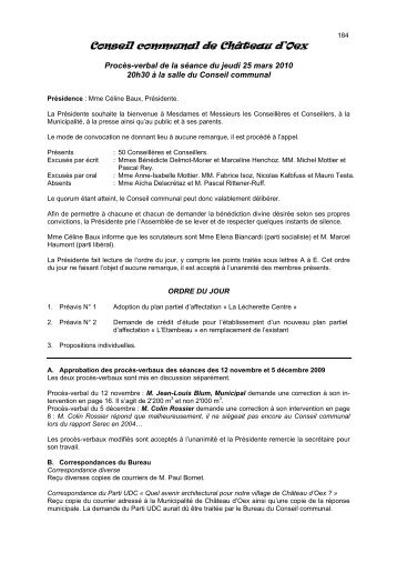 Procès-verbal de la séance du 25 mars 2010 - Château-d'Oex