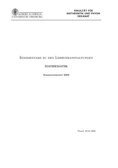 Kommentare zu den Lehrveranstaltungen - Mathematisches Institut ...
