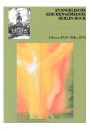 EVANGELISCHE KIRCHENGEMEINDE BERLIN-BUCH Februar 2013