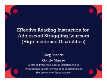 Effective Reading Instruction for Adolescent Struggling Learners ...