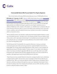 Cincinnati Bell Selects EXA Powered Calix C7 for Fioptics Expansion