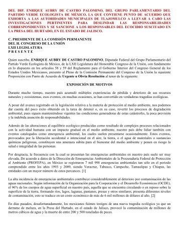 del dip. enrique aubry de castro palomino, del grupo parlamentario ...