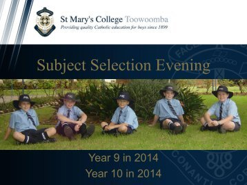 Subject Selection Evening - St Mary's College