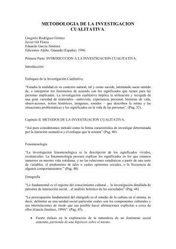 metodologia de la investigacion cualitativa - Métodos de