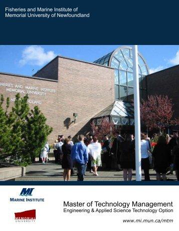 Master of Technology Management brochure - Marine Institute