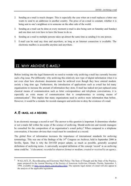 DAVID – Archiving e-mail