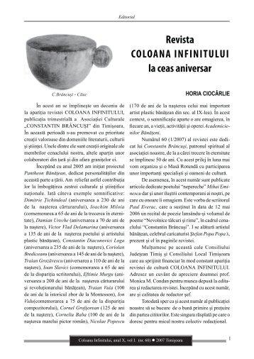 Revista Coloana Infinitului nr. 60 - Brancusi