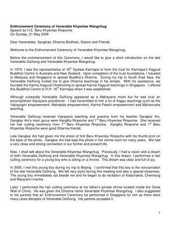 Enthronement Ceremony Speech by H.E. Beru Khyentse Rinpoche