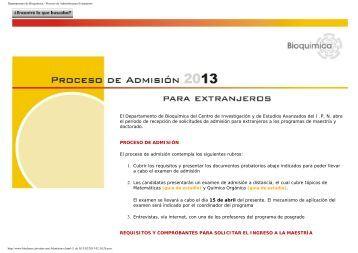 1. proceso admision extranjeros y guias de estudio - BIOQUIMICA ...
