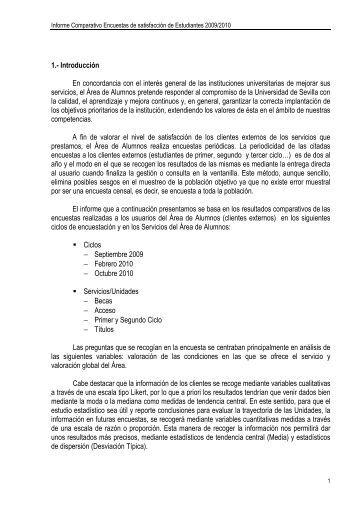 Informe Comparativo Encuesta de Satisfacción de Estudiantes 2009