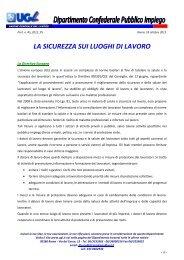 18 ottobre 2012: La sicurezza sui luoghi di lavoro - Ugl