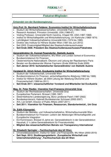 Mitgliederliste - Staatsschuldenausschuss