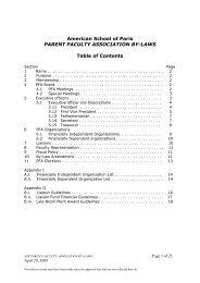 American School of Paris PARENT FACULTY ASSOCIATION BY ...