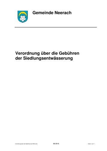 Gemeinde Neerach Verordnung über die Gebühren der ...