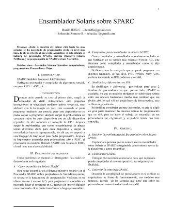 Ensamblador Solaris sobre SPARC - Ladyada.usach.cl