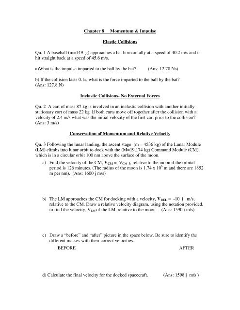 Chapter 8 Momentum Impulse Elastic Collisions Qu 1 A Baseball
