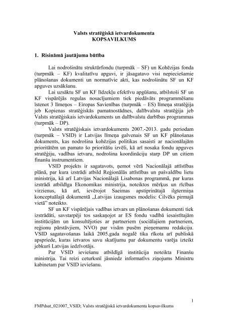 Valsts stratēģiskā ietvardokumenta kopsavilkums - ES fondi