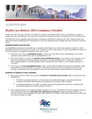 Health Care Reform: 2012 Compliance Checklist