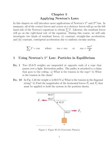 Chapter 5 Applying Newton's Laws 1 Using Newton's 1st Law ...