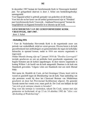 Geschiedenis van de Gereformeerde Kerk Vreeswijk, 1887-1987