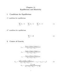 Chapter 11 Equilibrium and Elasticity 1 Conditions for Equilibrium 2 ...
