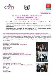 Communiqué de presse Résultats du Challenge étudiants - Mars 2013
