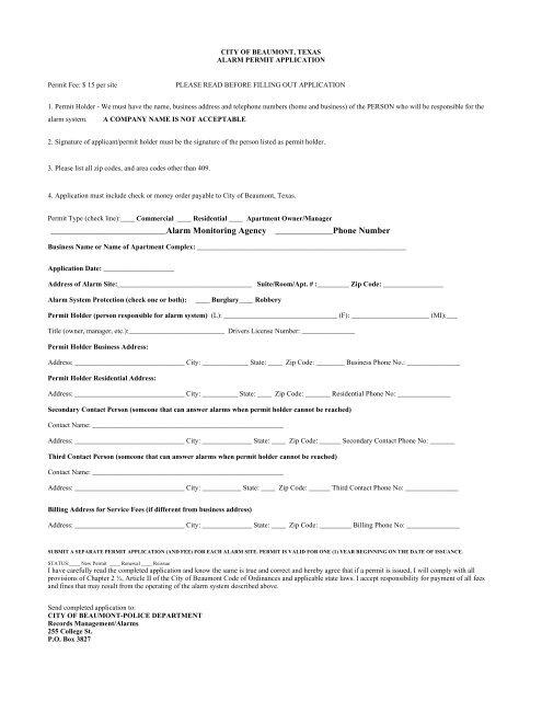 City of Beaumont alarm permit - Houston Alarm Monitoring