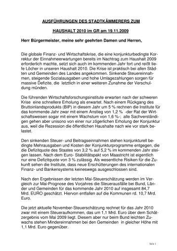 AUSFÜHRUNGEN DES STADTKÄMMERERS ZUM HAUSHALT ...