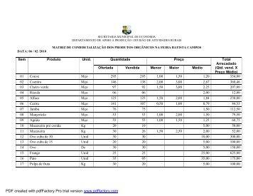 Veja aqui a tabela de preços dos produtos disponíveis na feira