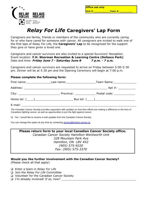 Relay For Life Caregivers' Lap Form - Canadian Cancer Society