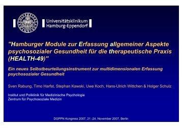 Vortragsfolien zum HEALTH-49 - Hamburger Module