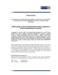 ECM zvažuje možnosti předčasného stažení vydaných a ... - iHNed