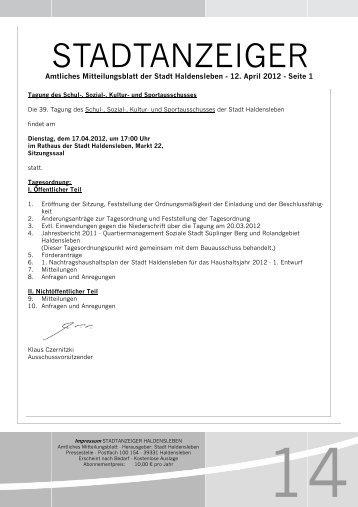 Stadtanzeiger Ausgabe 12. April 2012 - Haldensleben