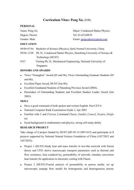 Curriculum Vitae Peng Xu 徐鹏 National University Of Singapore