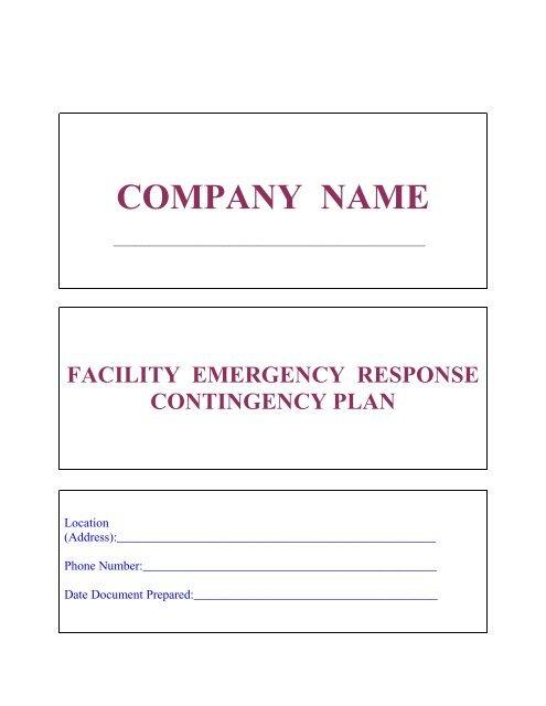 Model Facility Contingency Plan - Southwest Florida Regional ...